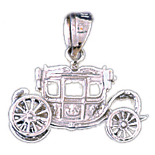14K WHITE GOLD CARIAGE CHARM #11298