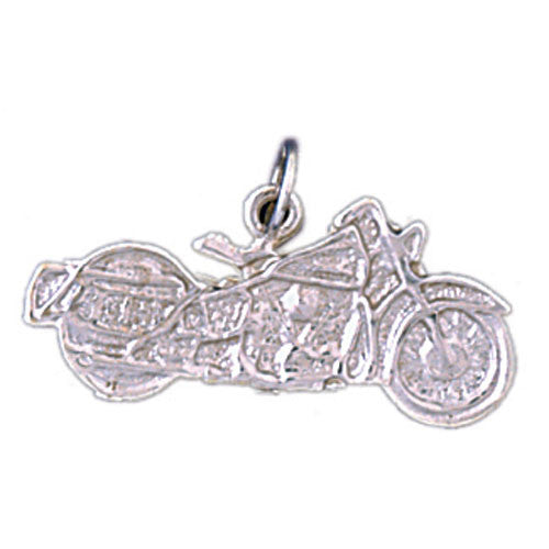 14K WHITE GOLD MOTORCYCLE CHARM #11300