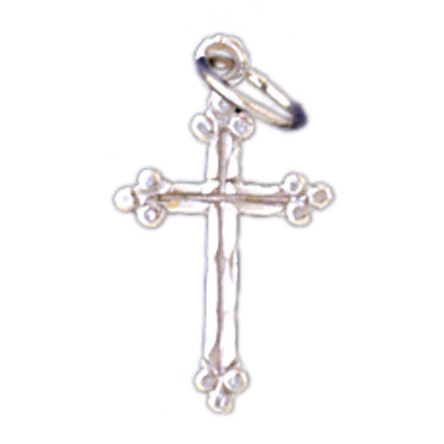 14K WHITE GOLD RELIGIOUS CHARM - SMALL CROSS #11402
