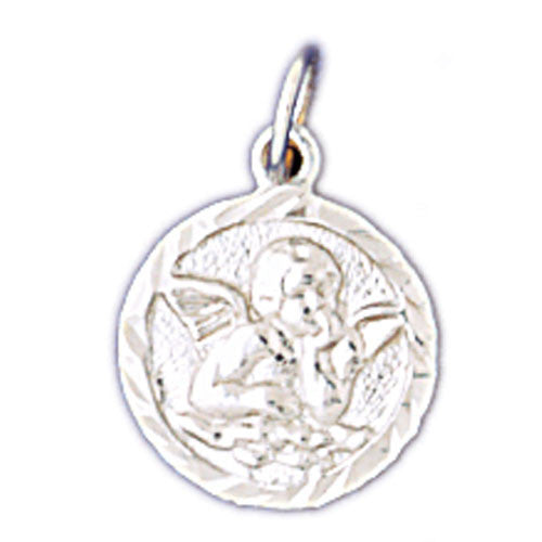 14K WHITE GOLD RELIGIOUS MEDAL - ANGEL #11432