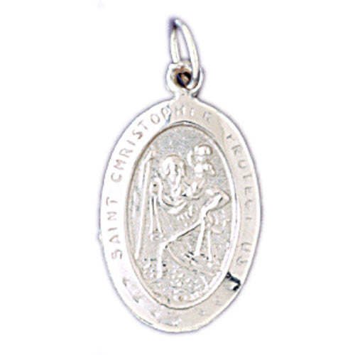 14K WHITE GOLD RELIGIOUS MEDAL - ST. CHRISTOPHER #11434
