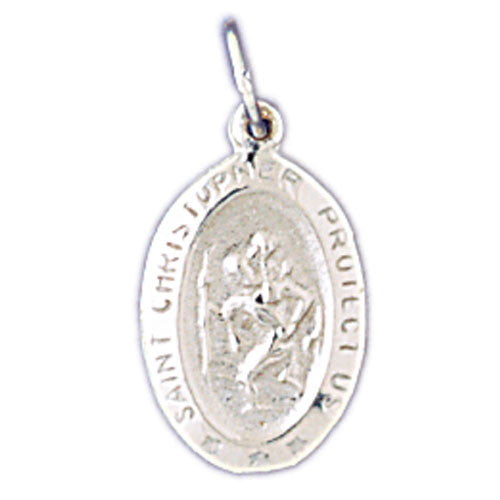 14K WHITE GOLD RELIGIOUS MEDAL - ST. CHRISTOPHER #11435