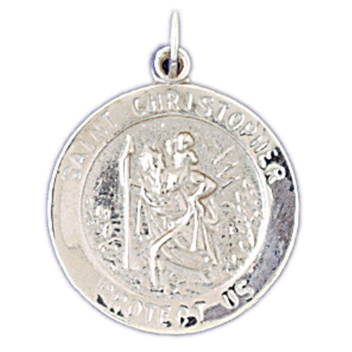 14K WHITE GOLD RELIGIOUS MEDAL - ST. CHRISTOPHER #11437