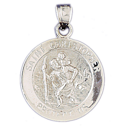 14K WHITE GOLD RELIGIOUS MEDAL - ST. CHRISTOPHER #11438