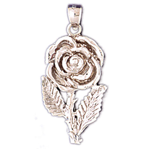 14K WHITE GOLD ROSE CHARM #11200