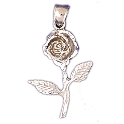 14K WHITE GOLD ROSE CHARM #11201
