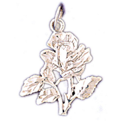 14K WHITE GOLD ROSE CHARM #11202