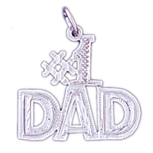 14K WHITE GOLD SAYING CHARM - #1 DAD #11551