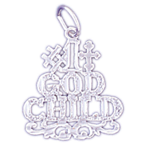 14K WHITE GOLD SAYING CHARM - #1 GOD CHILD #11553