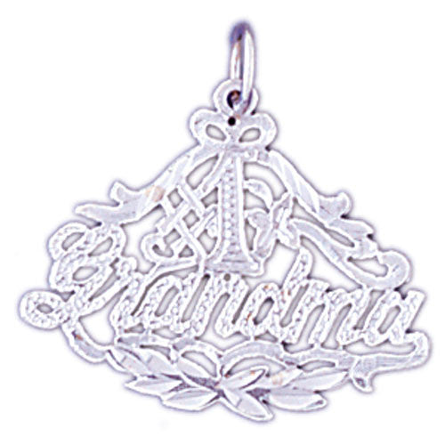 14K WHITE GOLD SAYING CHARM - #1 GRANDMA #11544