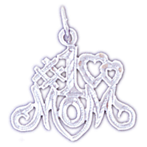 14K WHITE GOLD SAYING CHARM - #1 MOM #11534