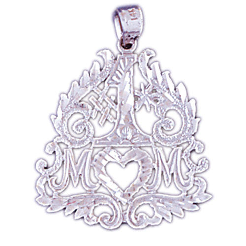 14K WHITE GOLD SAYING CHARM - #1 MOM #11536