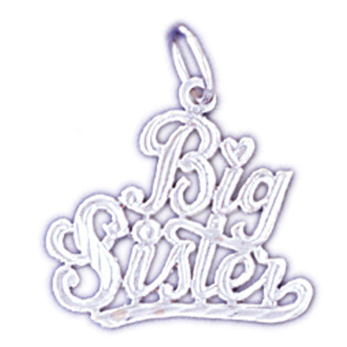14K WHITE GOLD SAYING CHARM - BIG SISTER #11538