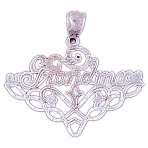 14K WHITE GOLD SAYING CHARM - GRANDMA #11546