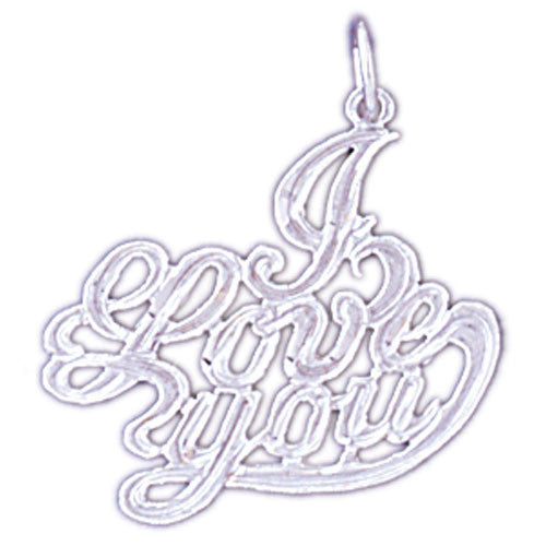 14K WHITE GOLD SAYING CHARM - I LOVE YOU #11555