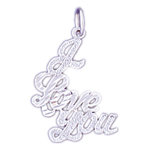 14K WHITE GOLD SAYING CHARM - I LOVE YOU #11556