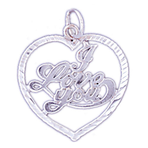 14K WHITE GOLD SAYING CHARM - I LOVE YOU #11557