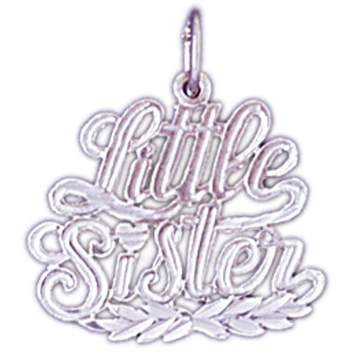 14K WHITE GOLD SAYING CHARM - LITTLE SISTER #11539
