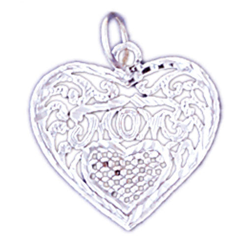 14K WHITE GOLD SAYING CHARM - MOM #11533