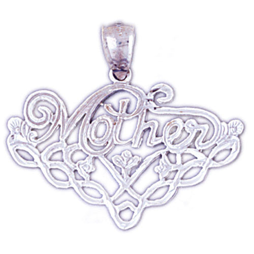 14K WHITE GOLD SAYING CHARM - MOTHER #11532