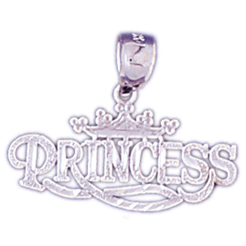 14K WHITE GOLD SAYING CHARM - PRINCESS #11560