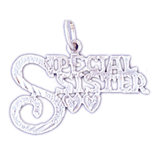 14K WHITE GOLD SAYING CHARM - SPECIAL SISTER #11537