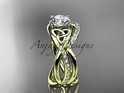 14k yellow gold celtic trinity knot engagement set, wedding ring CT790S