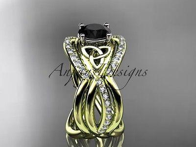 14k yellow gold celtic trinity knot wedding set,double band Black Diamond CT790S
