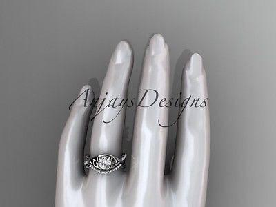 14k white gold celtic trinity knot engagement set,wedding ring Moissanite CT790S