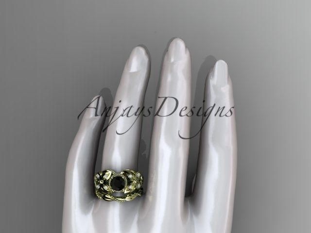 14kt yellow gold diamond celtic, Enhanced Black Diamond engagement set CT7136S