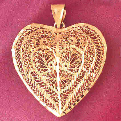 14K GOLD FILIGREE HEART CHARM #3723
