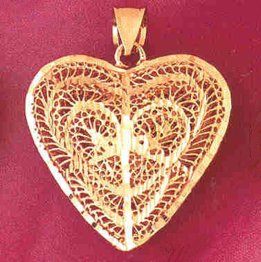 14K GOLD FILIGREE HEART CHARM #3724