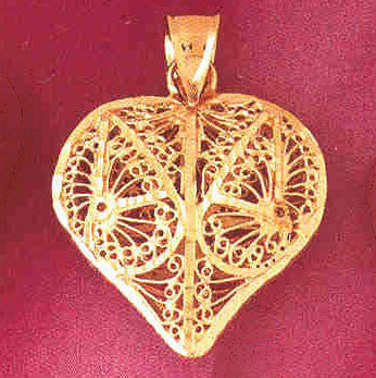 14K GOLD FILIGREE HEART CHARM #3725
