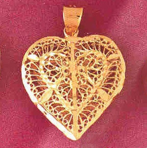 14K GOLD FILIGREE HEART CHARM #3726