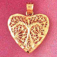 14K GOLD FILIGREE HEART CHARM #1329
