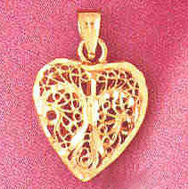 14K GOLD FILIGREE HEART CHARM #3730