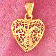 14K GOLD FILIGREE HEART CHARM #3731