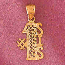 14K GOLD FILIGREE SAYING CHARM - #1 SISTER #3766
