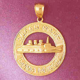 14K GOLD TRAVEL CHARM - QUEEN MARY LONG BEACH #4854