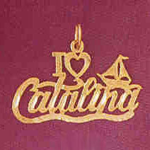 14K GOLD TRAVEL CHARM - I LOVE CATALINA #4859