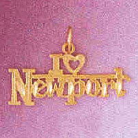 14K GOLD TRAVEL CHARM - I LOVE NEWPORT #4871
