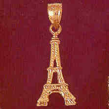 14K GOLD EIFFEL TOWER CHARM/PENDANT 3D # 4917
