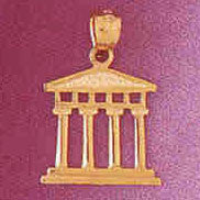 14K GOLD CHARM/PEND.- GREEK PARTHENON PILLARS # 4933