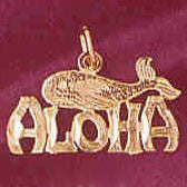 14K GOLD TRAVEL CHARM  - ALOHA #4970