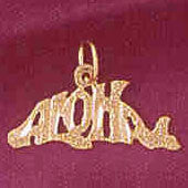14K GOLD TRAVEL CHARM  - ALOHA #4971