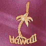 14K GOLD TRAVEL CHARM  - HAWAII #4975