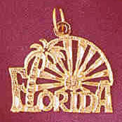 .14K GOLD TRAVEL CHARM - FLORIDA #5011