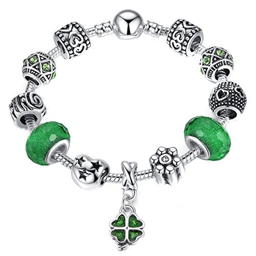 Silver Plate Charm Bracelet with Four Leaf Clover