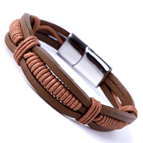 Stunning Brown Cuff Leather Bracelet for Men with Elegant Stainless Steel Clasp