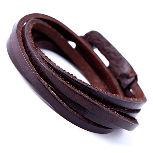 Deep Coffee Leather Wrap Cuff Men's Genuine Bracelet with Metal Hook Clasp (Brown)